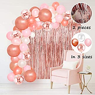 STARSHINE Balloon Garland Arch Tinsel Fringe Foil Curtains Kit Pink White Rose Gold Confetti Extra Large Balloons Party Decorations for Birthday Wedding Baby Shower Bridle Shower Centerpiece Backdrop
