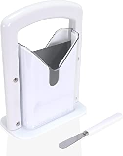 Gavanto Bagel Guillotine Slicer - Quick and Safe [Stainless Steel] Bagel Slicer Complete with Butter Spreader
