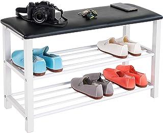Tatkraft Legend 2 Tiers Shoe Bench Rack Steel med Eco-Leather Cushion Entryway Storage Organizer, rymmer upp till 330 kg