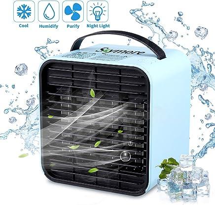 LISOPO 3 in1 Mini Luftk/ühler Mini Air Cooler Mobile Klimaanlage Klimager/ät Klima tragbar mit 3 Leistungsstufen/&7 Farben LED-Licht