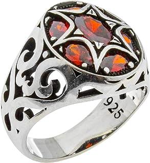 خاتم رجالي مميز مصنوع يدويًا من الفضة الإسترلينية عيار 925 مرصع بأحجار مكعب أحمر زركونيا مكعب فاخر من الفضة الاسترلينية