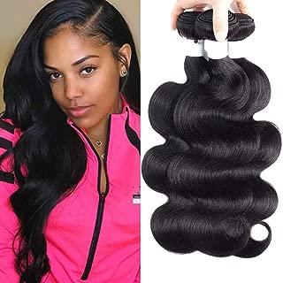 Brazilian Virgin Hair 3 Bundles Body Wave Human Hair Weaves 100% Unprocessed Hair Extensions Natural Black 20 22 24 Inch
