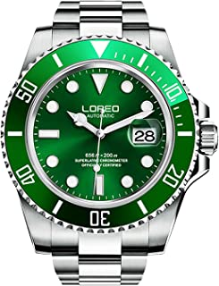 Mens Automatic Watch Silver Stainless Steel Sapphire Crystal Green Rotating Bezel Analog Watches