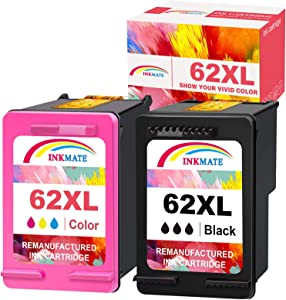 INKMATE Remanufactured Ink Cartridge Replacement for HP 62XL HP62 XL Ink Cartridge Combo Pack Black and Color for Envy 5660 5540 OfficeJet 5740 250 Printer(1 Black, 1 Tri-Color)