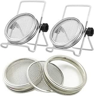 2 Pcs Stainless Steel Mason Jar Sprouting Jar Lids with 2 Pcs Stainless Steel Sprouting Stands for Wide Mouth Mason Jars Canning Jars (White)