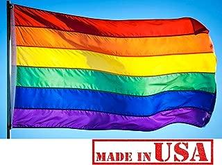 US Flag Factory 2x3 FT Rainbow Flag (Sewn Stripes) Outdoor SolarMax Nylon - Gay Pride Lesbian LGBT - Premium Quality - Made in America