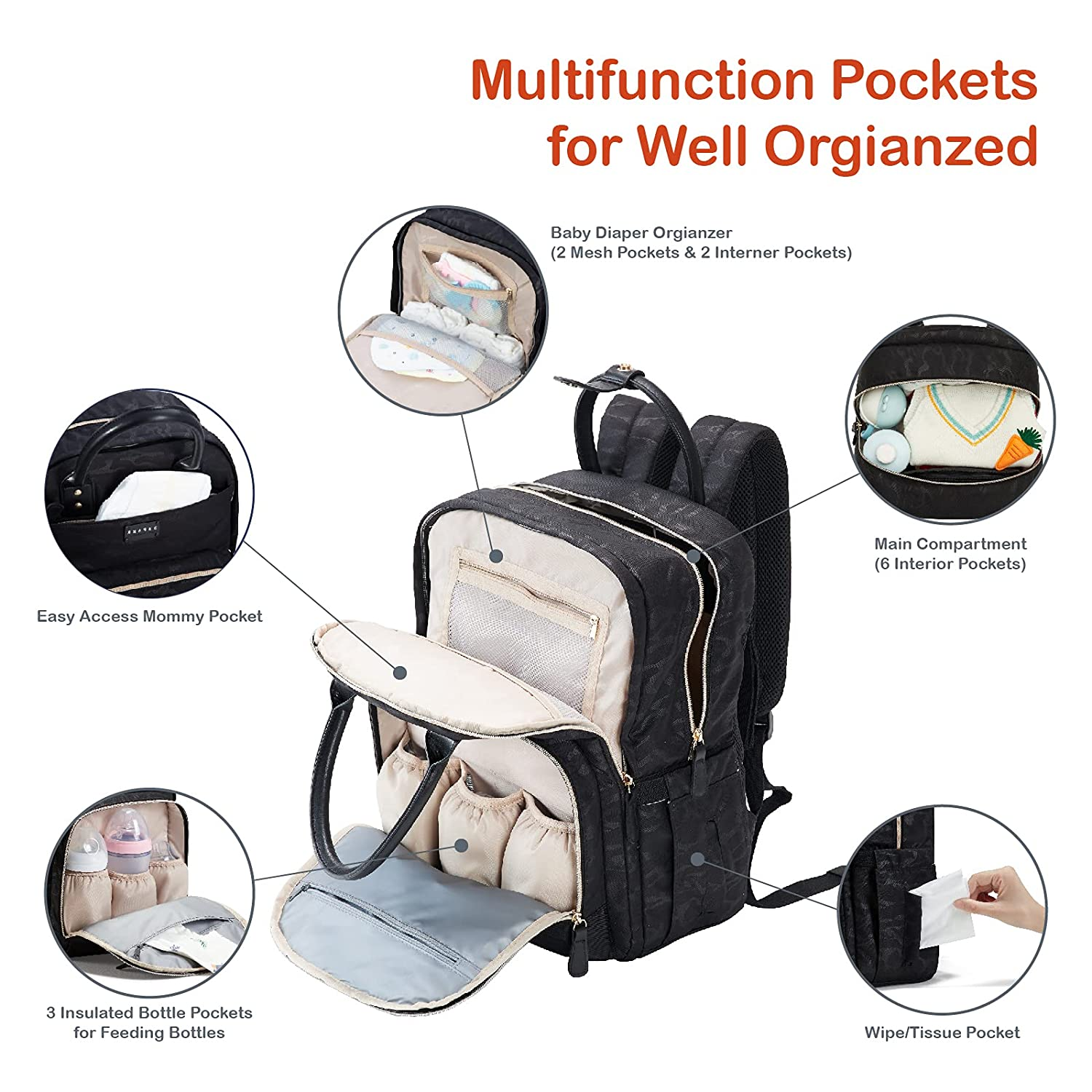 Diaper Bag Backpack with Stroller Straps, BBPARK - Multifunction Diaper Bags for Baby Boy Girl Waterproof Large Diaper Bag(Black, 17x13.5 x7.5 inches)