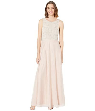 Adrianna Papell Beaded Sleeveless Gown w/ Tulle Skirt (Shell) Women