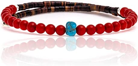 $80Tag Coral Natural Turquoise Certified Navajo Native Adjustable Wrap Bracelet 22133 Made by Loma Siiva