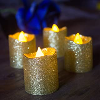 LOGUIDE 12pcs Gold Glitter Votive Candle Battery Powered Flameless LED Wedding Tealight Candle Xmas Christmas Celebrate Party Celebration