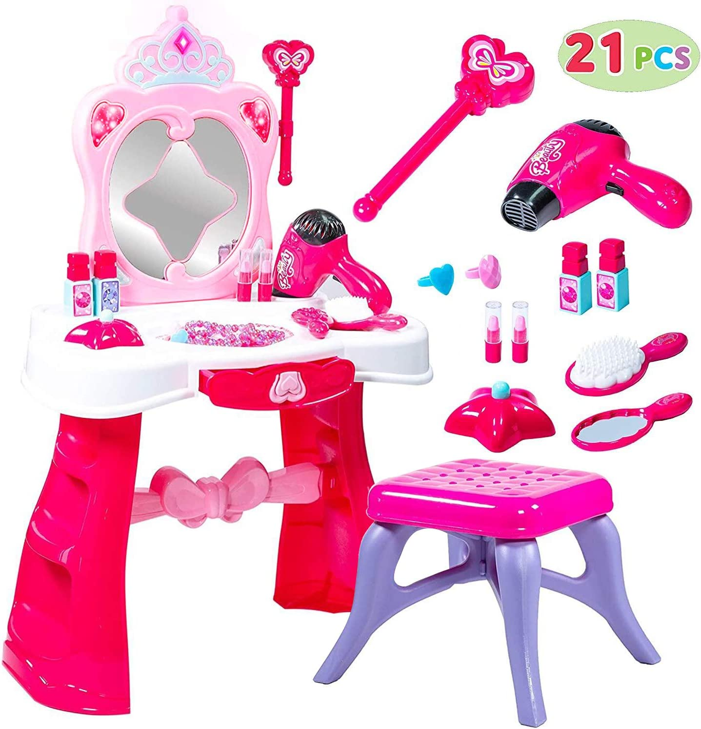 Toddler Fantasy Vanity Beauty Dresser Table Play set with Lights