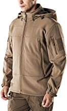CQR Men's Tactical Softshell Hoodie Hiking Hunting EDC Lightweight Fleece Coat Jacket