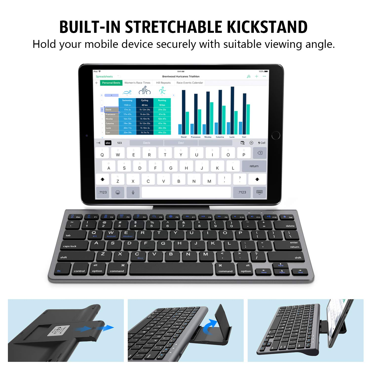 Color : Grey Black CHENFA GK608 Ultra-Thin Foldable Bluetooth V3.0 Keyboard Built-in Holder Support Android//iOS//Windows System