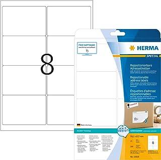 Herma 10018 adressetikett DIN A4 kan tas bort (99,1 x 67,7 mm, 25 blad, papper, matt) självhäftande, tryckbar, avtagbar oc...