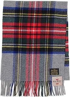 (グレンプリンス)Glen Prince 100%ラムズウール 大判 チェック柄 マフラー Made in SCOTLAND [ブランド直輸入品] (Grey Dress Stewart)