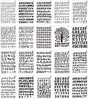 Aibecy Aides pour dessin et lettrage 20 pièces B5 Alphabet lettre numéro pochoirs dessin peinture modèles pour animaux de ...