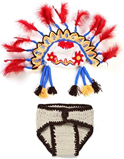 Newborn Native American People Cloth Handmade Crochet Knitted Photo Prop Outfits Fashion Costume 2016