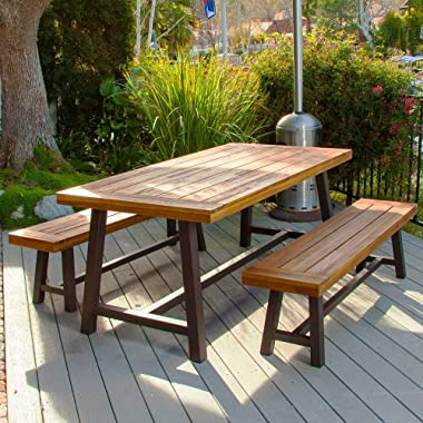 PHI VILLA Outdoor Table Bench Set of 3, 1 Wood Dining Table & 2 Wooden Benches, Premium Acacia Wood Patio Furniture Set f