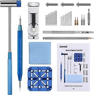 Chasse Goupille Montre, JOREST 38pcs Kit Reparation Montre, Outil Montre pour Ajuster et Remplacer et Perforer le Bracelet...