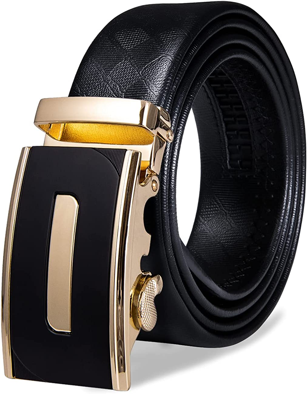 Mens Gold Buckle Belt YOHOWA Today's only Cowhide Price reduction Buck Automatic Ratchet