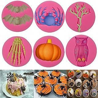 6Pcs/Set Halloween Fondant Molds, Halloween Bat Pumpkin Spider Owl Skeleton Tree Branch Silicone Chocolate Candy Mold for ...