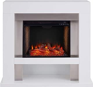 Southern Enterprises Lirrington Stainless Steel Fireplace with Alexa-Enabled Smart Firebox, White