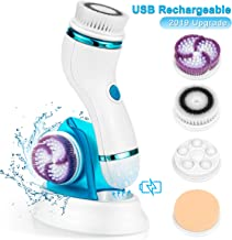 4 in 1 Facial Cleansing Brush - Rechargeable Face Brush Set - IPX65 Waterproof Electric Rotating Face Scrubber for Deep Cleaning, Exfoliating, Blackhead Removing, 2 Speeds Adjustable