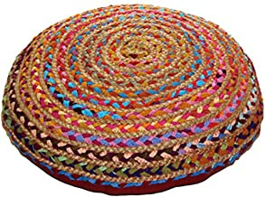 COTTON CRAFT - Jute & Cotton Multi Chindi Braid Floor Pillow - Handwoven from Multi-Color Vibrant Fabric Rags (24