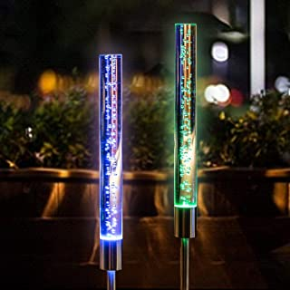 Solar Garden Lights Outdoor - Solar Acrylic Bubble Tube Light - RGB Color Changing Waterproof Night Solar Powered Stake Lights for Pathway Courtyard Lawn Backyard Decoration (2 Pack Bubble lights)