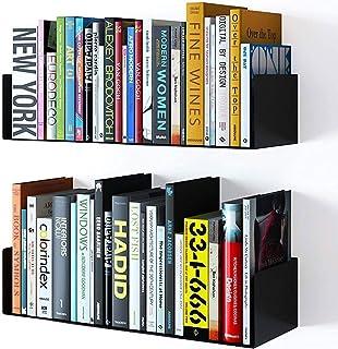 Everline Wall Mounted Shelves Metal U Shape Book Shelf CD DVD Storage Organizer Display Bookcase Black Set of 2