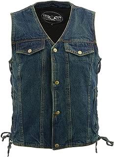 M Boss Apparel BOS13005 Mens Blue Side Lace Denim Vest with Denim Style Chest Pockets - X-Large