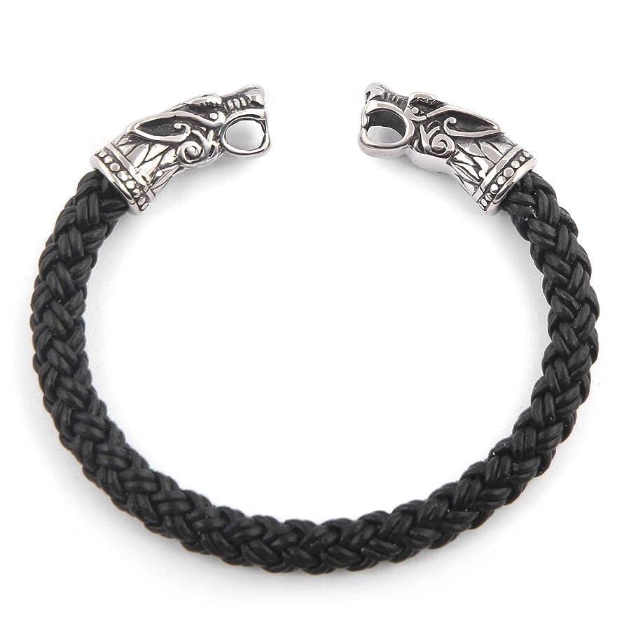 BaviPower Handcrafted Fenrir Wolf Head Torc Bangle Bracelet ? Flexible ? Genuine Leather ? Stainless Steel ? Norse Scandinavian Bracelet ? Authentic Viking Men Bracelet n610503067