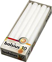 BOLSIUS Long Household White Taper Candles – 10-inch Unscented Premium Quality Wax..