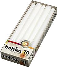 شموع خشبية بيضاء طويلة من بوليسيوس - شمع عالي الجودة غير معطر 25.4 سم - شموع لا تتقطر تدوم 7.5 ساعات - عبوة من 10 قطع لتزي...