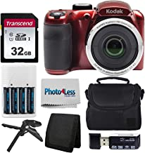$164 » Kodak PIXPRO AZ252 Astro Zoom 16MP Digital Camera (Red) + Point & Shoot Camera Case + Transcend 32GB SD Memory Card + Rechargeable Batteries & Charger + USB Card Reader + Table Tripod + Accessories