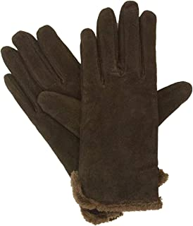 Isotoner Women's Suede Glove with Side Vent and Fur Trimmed Cuff