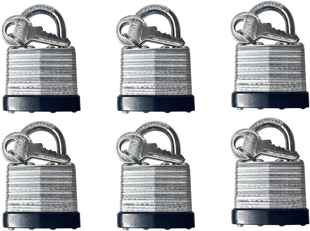 Ranking TOP3 LockForAll 6pcs Short Shackle Laminated Max 61% OFF Steel with Alike Padlock