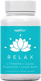 Nutriair Relax Anti Anxiety Supplement - Naturally Calm Mood Boost & Support Vitamins to Relax Your Mind & Relieve Stress ...