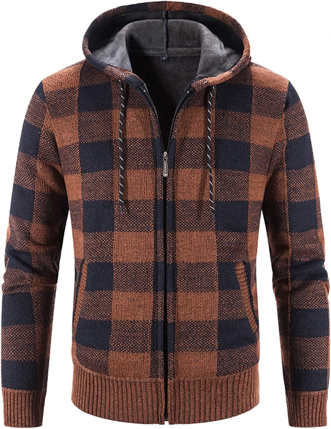 XUNFUN Men's Full Zip Plaid Hooded Cardigan Sweaters Winter Casual Thermal Knitted Sweater Jacket Coat with Pockets