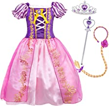 HenzWorld Little Girls Dresses Princess Costume Birthday Party Role Pretend Cosplay Dress Up Braided Wig Headband Accessories Patchwork Mesh Split Skirt Purple Outfits Kids Age 4-5 Years