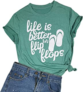Life is Better in Flip Flops Shirt Letter Print O-Neck Casual T-Shirt Tee Tops Green