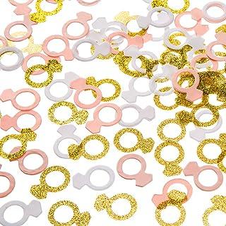 MOWO Glitter Diamond Ring Paper Confetti Table Decor and Event Decor Gold GlitterPinkWhite 200 Count