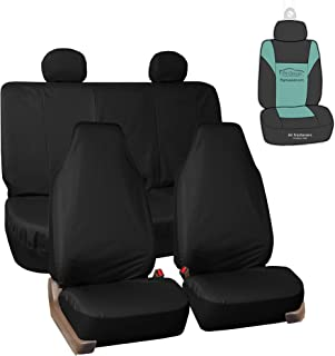 FH Group FB113114 Full Set Rugged Oxford Waterproof Car Seat Covers w. Gift - Black Fit Most Car, Truck, SUV, or Van