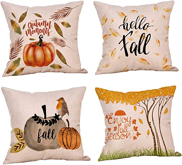 4 Pack Halloween Throw Pillow Case Car Pumpkin Fall Thanksgiving Cushion Cover Home Sofa Decor 18 X 18 Inch
