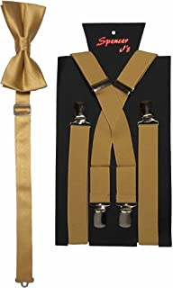Spencer J's Men's X Back Suspenders & Bowtie Set Variety of Colors