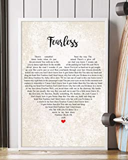 Trendora Decor Fearless Song Lyrics Portrait Poster Print (16