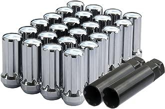 DCVAMOUS 24pc Bulge 7-Spline Chrome Extended Steel Wheel Lug Nuts 14x1.5 Thread - 2