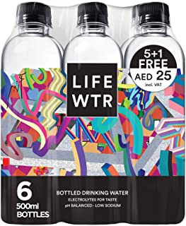 LIFEWTR, non-carbonated water bottle, low sodium, with electrolytes, 500ml x 5+1 free, promo pack