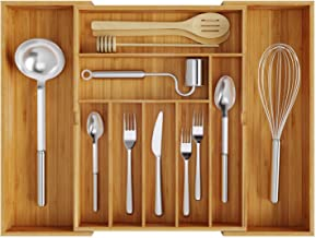 BAMEOS Utensil Drawer Organizer, Cutlery Tray Desk Drawer Organizer Silverware Holder Kitchen Knives Tray Drawer Organizer, 100% Pure Bamboo Expandable Adjustable Cutlery in Natural Color