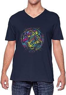 Lion Neon Head - Spirit Animal Courageous Unisex V-Neck T-Shirt